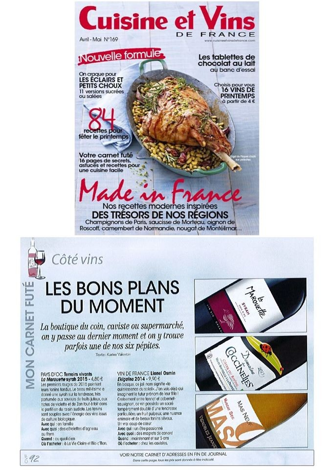 Cuisine et Vins de France march-april 2016