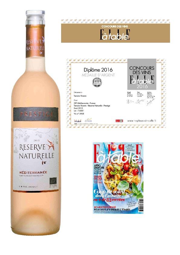 Médaille d'ARGENT- Elle à Table – Concours des Vins 2016