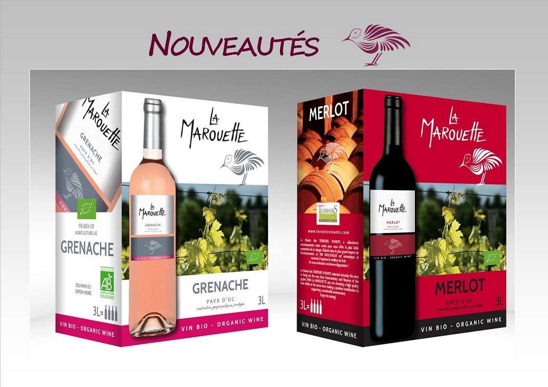 2 new BIB 3L- La Marouette -Rouge and  Rosé -IGP Pays d'OC
