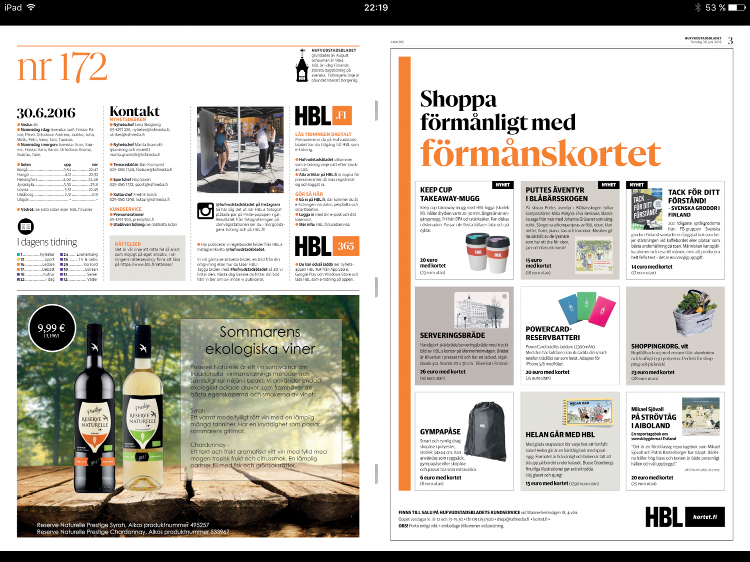 in the Finnish daily newspaper HBL