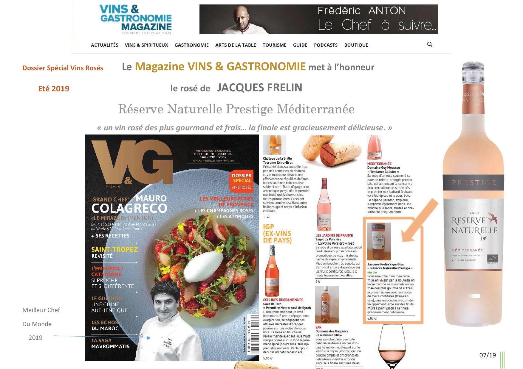 Le magazine Vins & Gastronomie met à l'honneur le rosé de Jacques FRELIN RESERVE NATURELLE Prestige Méditerranée